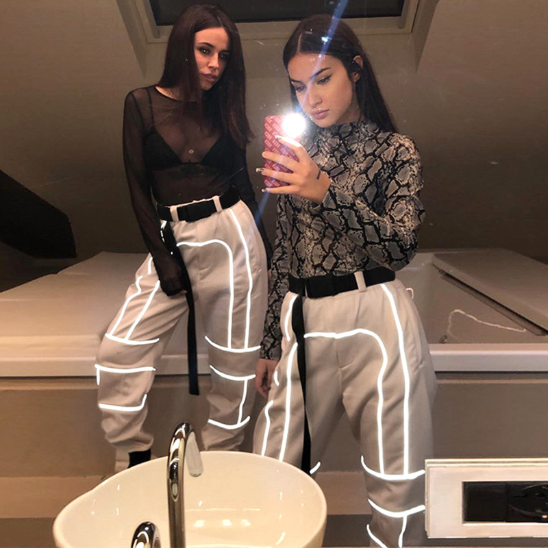 Women Fashion Street Reflective Patchwork Cargo Pants 2019 New Arrival Zipper Fly With Sashes Pockets Knitted Trousers