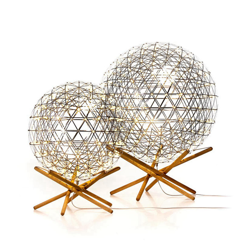 Modern creative floor light Nordic Dia.55cm ball stainless steel floor light wooden trip ...