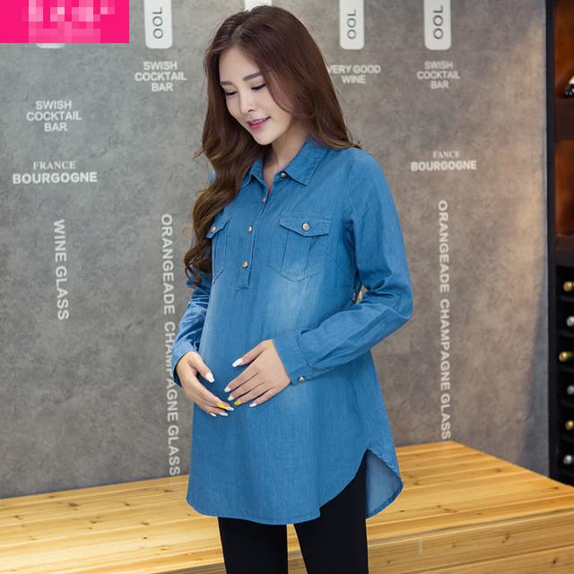 Nueva Más El Tamaño de Mezclilla de Algodón Camisa de Manga Larga Camisa de Maternidad Embarazo y Top para El Embarazo Las Mujeres Embarazadas Ropa