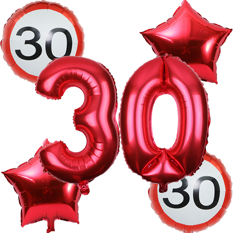 6pcs/set 32inch number 18 <font><b>30</b></font> 40 50 60th Anniversary Day Balloon globos cumpleanos infantiles <font><b>birthday</b></font> party <font><b>decor</b></font> adul balloons image