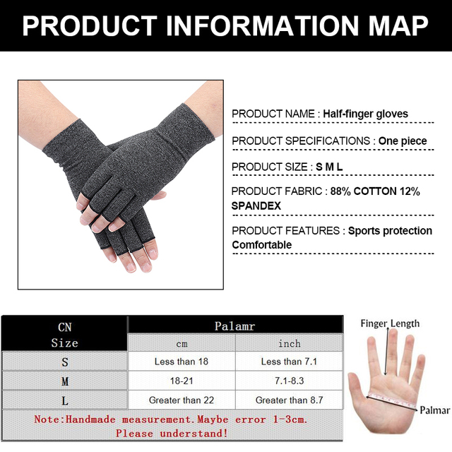 1Pair Compression Therapy Fingerless Gloves 2