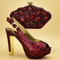 2019 Latest Wine color Italian Shoes and Bags To Match Shoes with Bag High Quality Nigerian Shoes and Matching Bags for Party