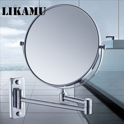 Mirror Bathroom Float Mirror Magnifying Mirror Double Sided Makeup Wall Mounted Foldable Rotate Cosmetic Metal Mirror fashionable design hot sale bathroom makeup mirror multiple colors wall mounted