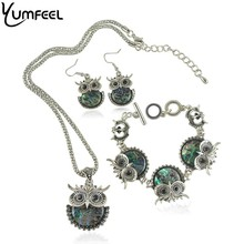 2016 New Vintage Animal-shaped Jewelry Set Metal with Antique Silver Plated Shell Owl Bracelet Necklace and Earring Jewelry Set