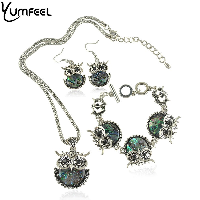Yumfeel Vintage Animal shaped Jewelry Set Metal with Antique Silver Plated Shell Owl Bracelet Necklace and Earring Jewelry Set