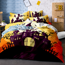 3Pcs 100% Polyester Skeleton Printed Bedding Halloween Set Leopard Skulls Dead Head Quilt Cover