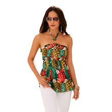 цена на 2019 hot sale explosions hanging neck tube top pineapple print shirt T-shirt free shipping