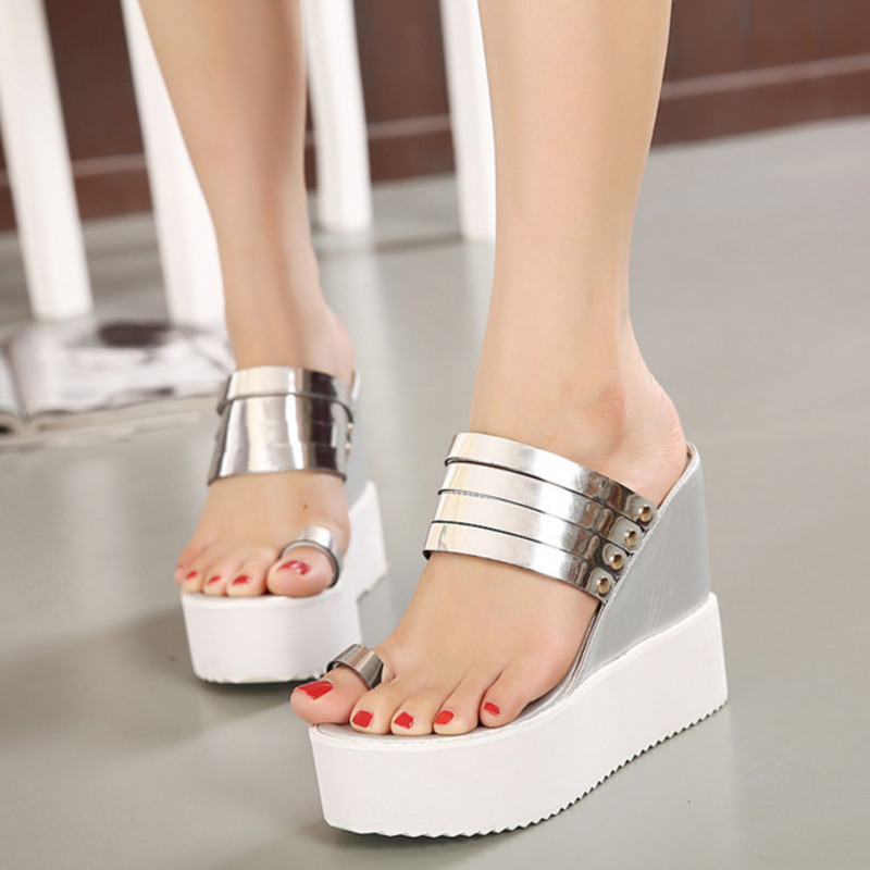 Sexy Flip Flops Wedges Sandals High Heels Platform Women's Sandals ...