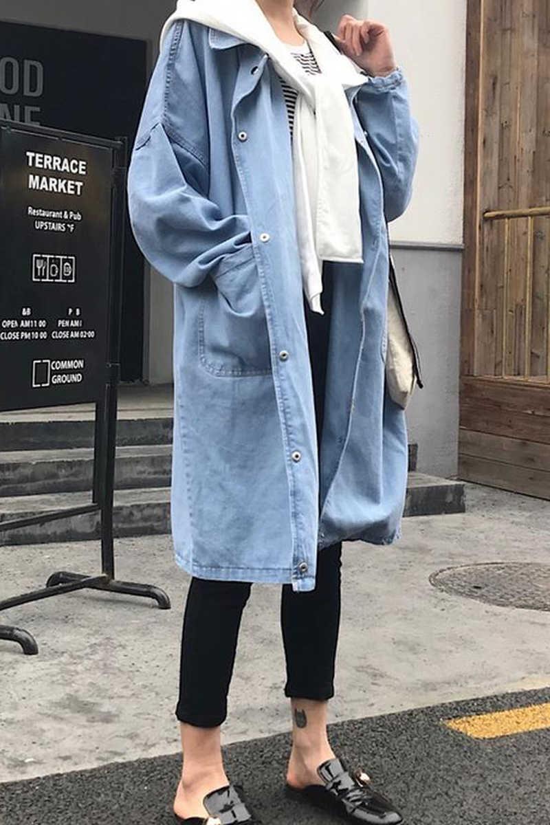 Новые осенние джинсы куртки 2017 синего цвета; Модная Джинсовая куртка для девочек одежда с длинным рукавом, Кардиган с длинным рукавом Джинсовое Пальто Куртка с капюшоном Женская плюс Размеры A800
