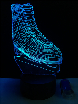 Sport Ice Skate Shoe 3D LED Lamp Acrylic Plate Night Light Kid Room Table Multicolor Fashion Atmosphere Decorative Lighting the journey to decorative the west q version monkey led night light king sun wukong golden cudgell kid cartoon 3d lamp optica