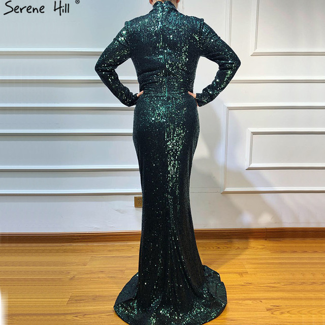New Designer Green High Neck Sexy Evening Dresses 2019 Sequined Long Sleeves Fashion Luxury Evening Gowns LA6314