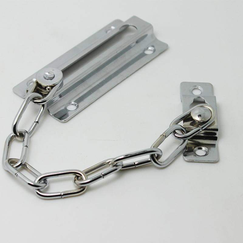 Sliding Door Lock Chrome Chain Bolt Safety Chain Hotel Office Security Chain Gate Cabinet Latches Decorative Hardware #0825