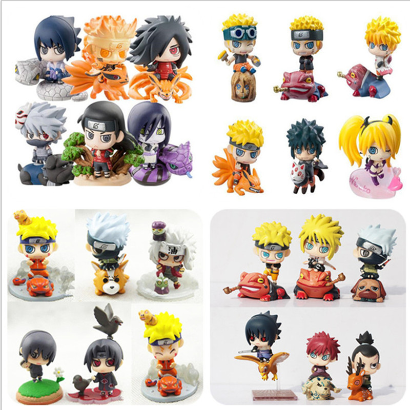 Naruto Action Figure Toys Uchiha Sasuke Uchiha Madara Q Version pvc Figure Toys Dolls Model Kids Best Christmas Gift 6pcs/set