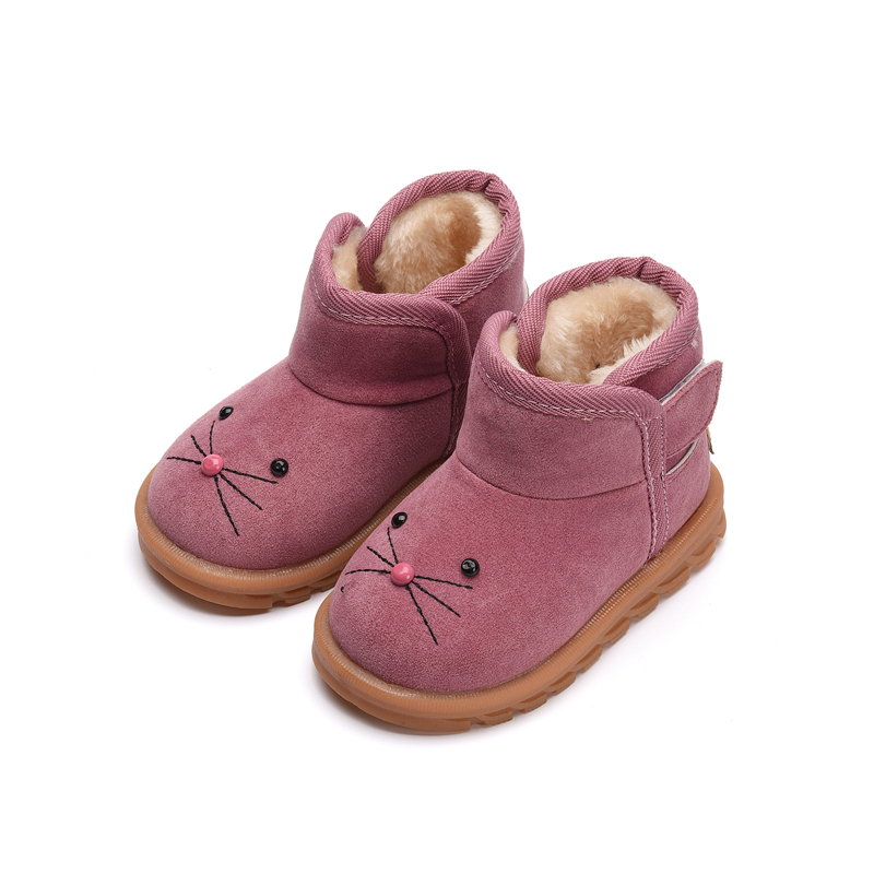 Winter Children'S Cotton Boots Shoes For Boys/Girls Warming Plush Velvet Boots Kids Baby Snow Boots Non-slip Cute Shoes comfortable plush shoes boots for 0 18 months cute autumn winter kids baby boys girls cotton warm shoes