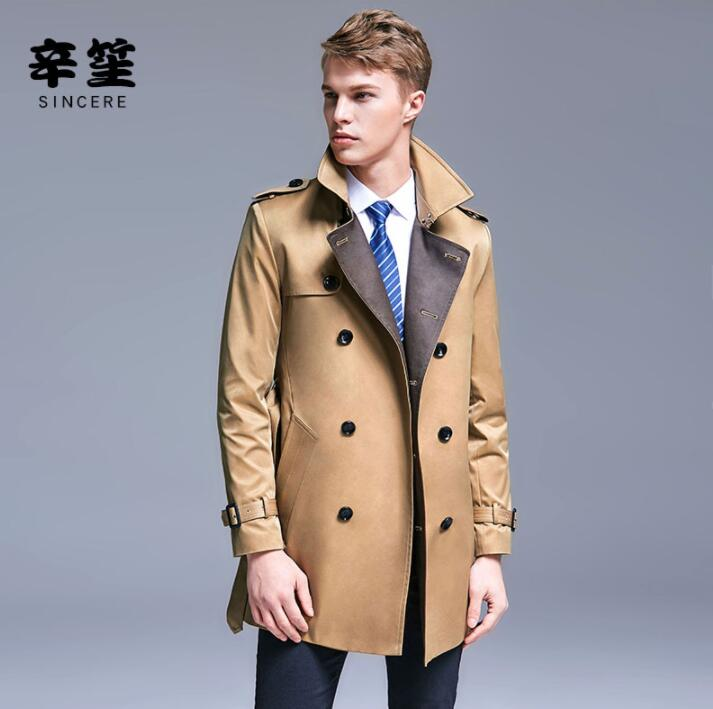 Mens Trench Coats Man Double-breasted Long Coat Men Clothes Slim England Overcoat Long Sleeve 2019 New Designer Spring Autumn