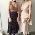 [Alphalmoda] High Waist Medium-long Printed A-line Chiffon Skirt + Hand Knitted Vest Women 2pcs Beach Skirt Sets for 2017 Summer