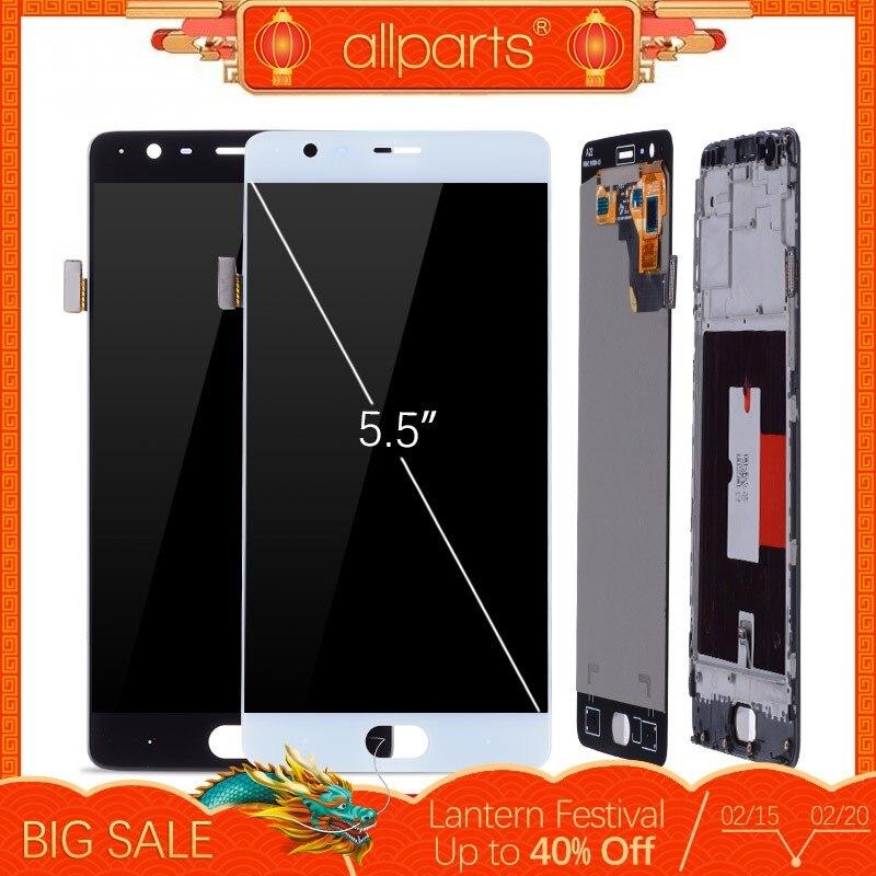 Оригинальный тачскрин дисплей экран для OnePlus 3 сенсорный дисплей Оригинал LCD с тачскрином в рамке замена запчасти a3000 a3003 Черный белый