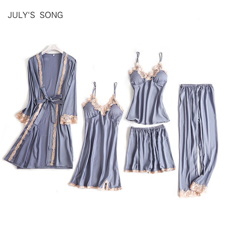 JULY'S SONG 5 Pieces Pajama Set Sexy Lace Satin Sleepwear Women Summer Spring Fashion Pajamas For Women Robe Sleep Lounge