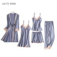 JULY'S SONG 5 Pieces Pajama Set Sexy Lace Satin Sleepwear Women Summer Spring Fashion Pajamas for Women Robe Sleep Lounge