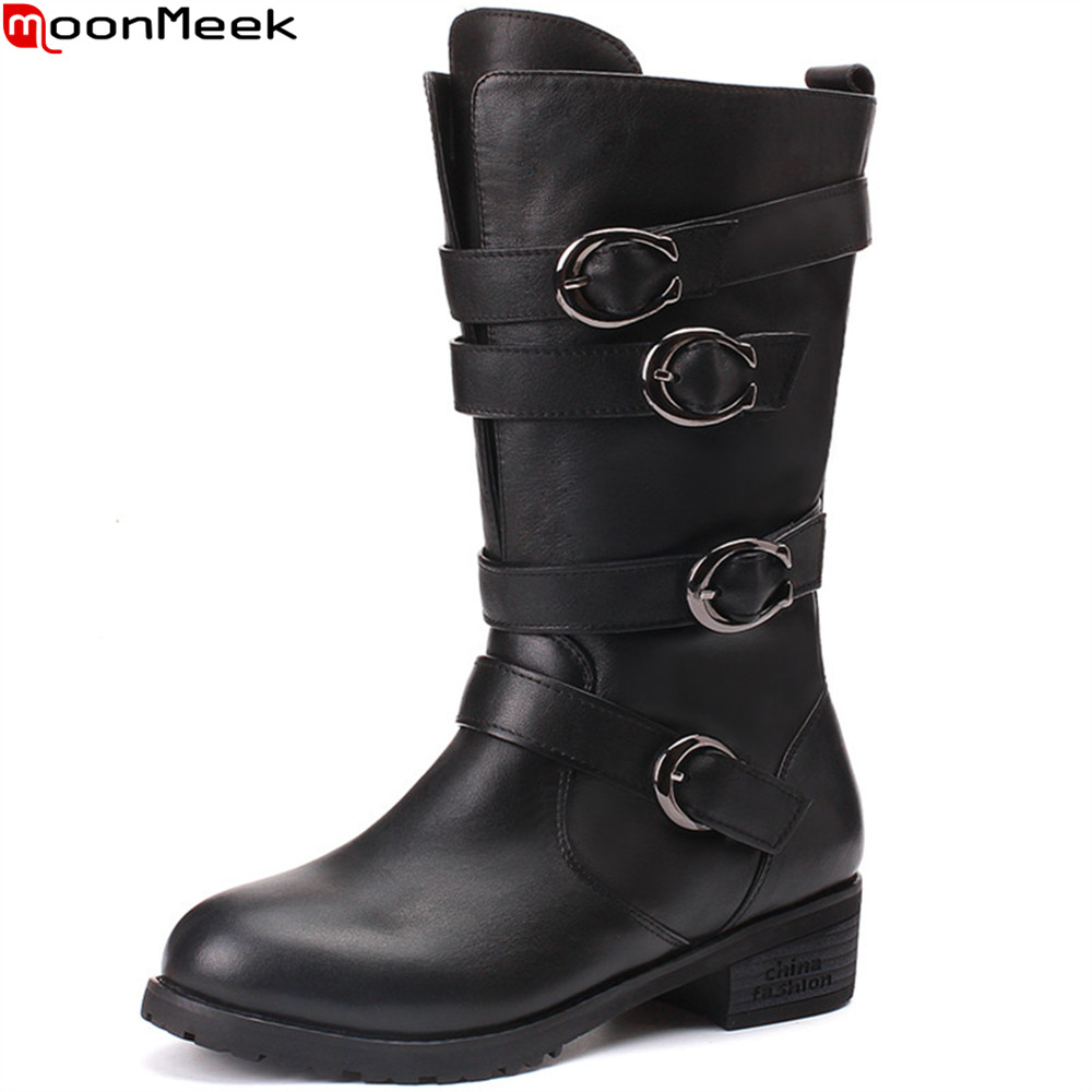 MoonMeek fashion winter shoes woman boots round toe ladies genuine leather boots square heel buckle cow leather mid calf boots memunia fashion women boots round toe ladies genuine leather boots square heel zipper cow leather wool keep warm mid calf boots