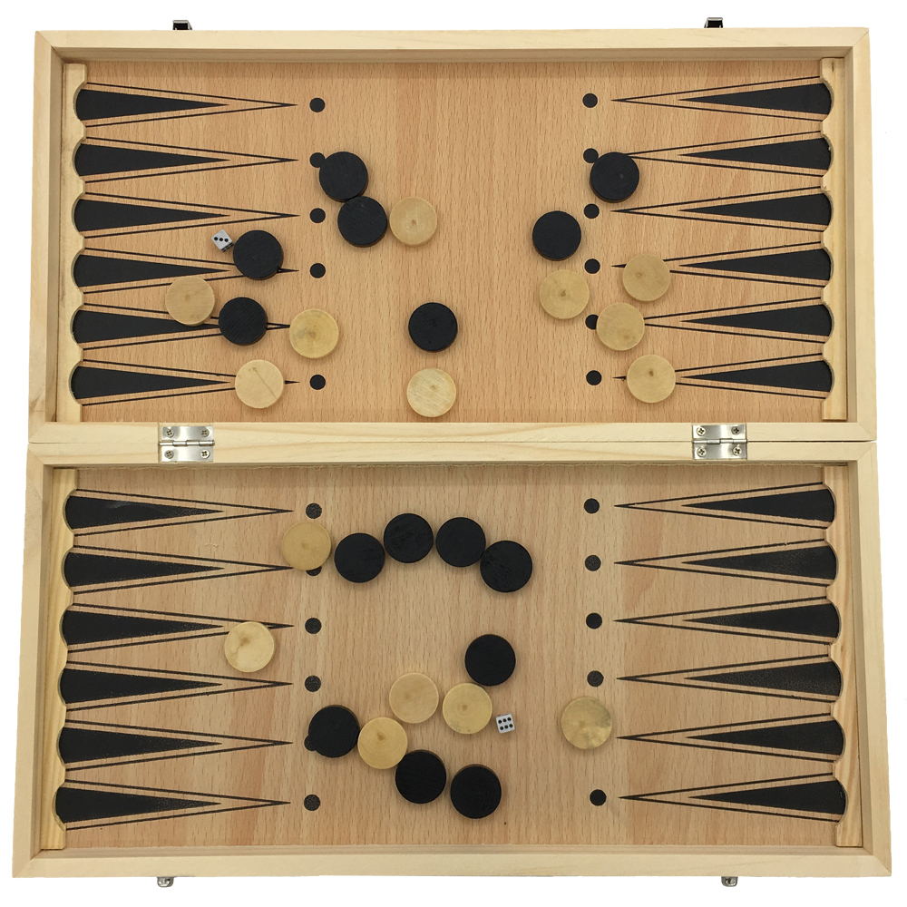 Wooden backgammon set traveling toys 15 inch large folding portable large chess checkers backgammon 3 in 1 chess learning set outdoor travel games without publicscrutiny Images