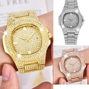 Image 2 - Kimsdom الرجال الساعات 2019 العلامة التجارية الفاخرة تصميم كوارتز ساعة ماسية للرجال مثلج خارج ساعة AAA مقاوم للماء ساعة يد جلدية