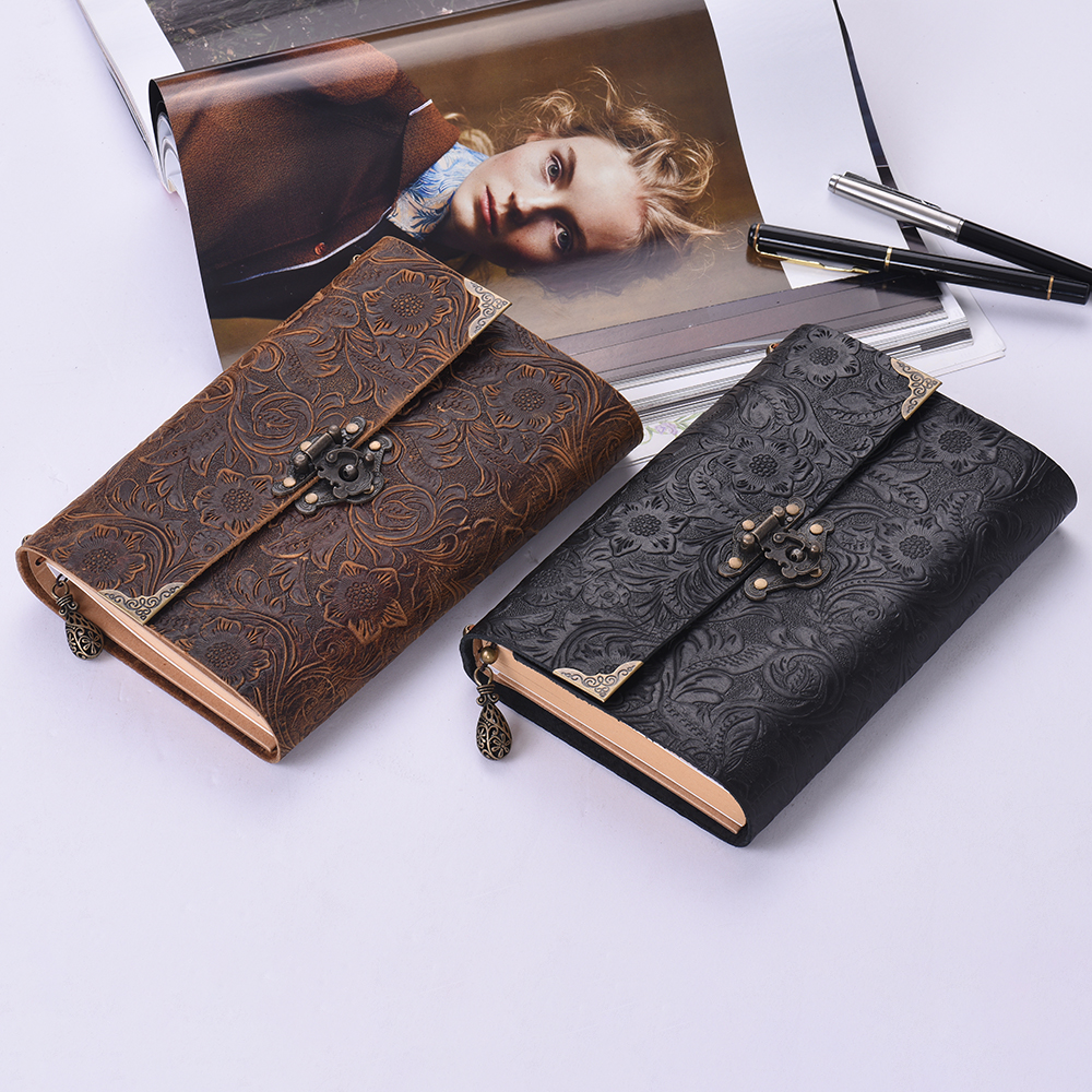 Soft Leather Journal Notebook Handmade Embossed Pattern  with lock and Key Diary Notepad Kraft Paper for Traveler Business