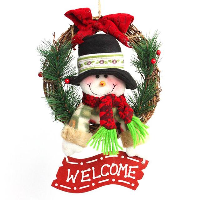 christmas wreath for front door hang garland with santa claus