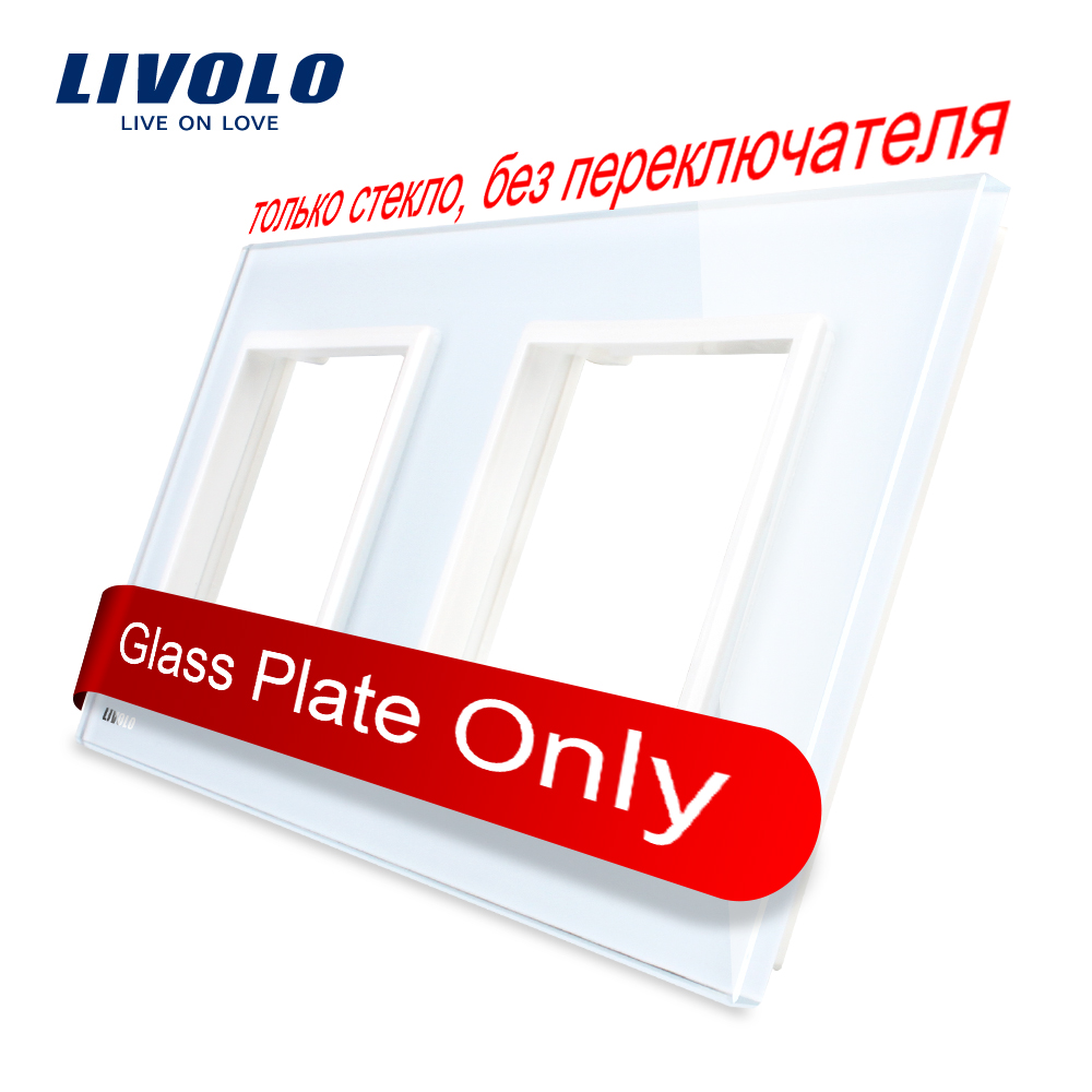 Livolo Luxury White Pearl Crystal Glass, EU standard, Double Glass Panel For Wall Switch&Socket,VL-C7-SR/SR-11  (4 Colors) atlantic brand double tel socket luxury wall telephone outlet acrylic crystal mirror panel electrical jack