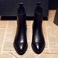 Обувь Женщина Весна Корова Натуральная Кожа Лодыжки Челси Сапоги 2017 круглый Носок Черный Шерсть Загрузки Женщины Моды На Молнии Обувь SFMB001