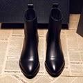 Zapatos de Mujer de Primavera Vaca Botines de Cuero Genuino Botas Chelsea 2017 Dedo Del Pie redondo Negro Zapatos de Bota de Las Mujeres de Moda de Lana Con Cremallera SFMB001