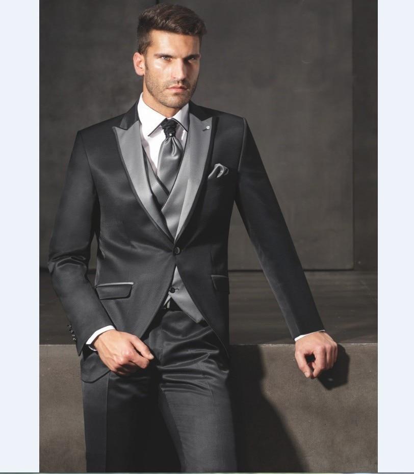 new arrival groomsmen peak grey lapel groom tuxedos shiny