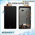 Testado para nokia lumia 820 display lcd com tela de toque digitador + montagem do quadro 1 peça frete grátis