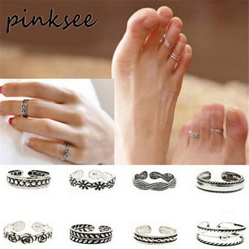PINKSEE 24pcs Celebrity Simple Silver Color Retro Carved Flower Toe Ring Foot Lady Unique Antique Toe Ring Foot Beach Jewelry