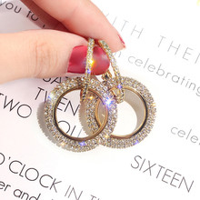Korean Handmade Silver Needles Anti-allergy Round Rhinestone Drop Earrings Dangle Fashion Jewelry-BYD5