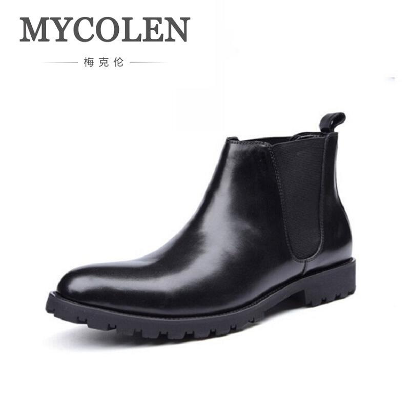 MYCOLEN Black Chelsea Boots Shoes Men Ankle Military Boots Cowhide Leather Boots Men Business Autumn Shoes Slip-On Botas Hombre