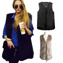 Delicate Women Faux Fur Ladies Sleeveless Vest Waistcoat Jacket Gilet Shrug Coat Outwear Chaqueta de piel de Fox Faux piel Nov4