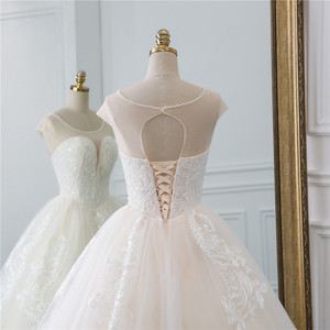 Image 5 - Fansmile Illusion Vintage Princess Ball Gown Tulle Wedding Dresses 2020 Quality Lace Plus size Wedding Bride Dresses FSM 520F