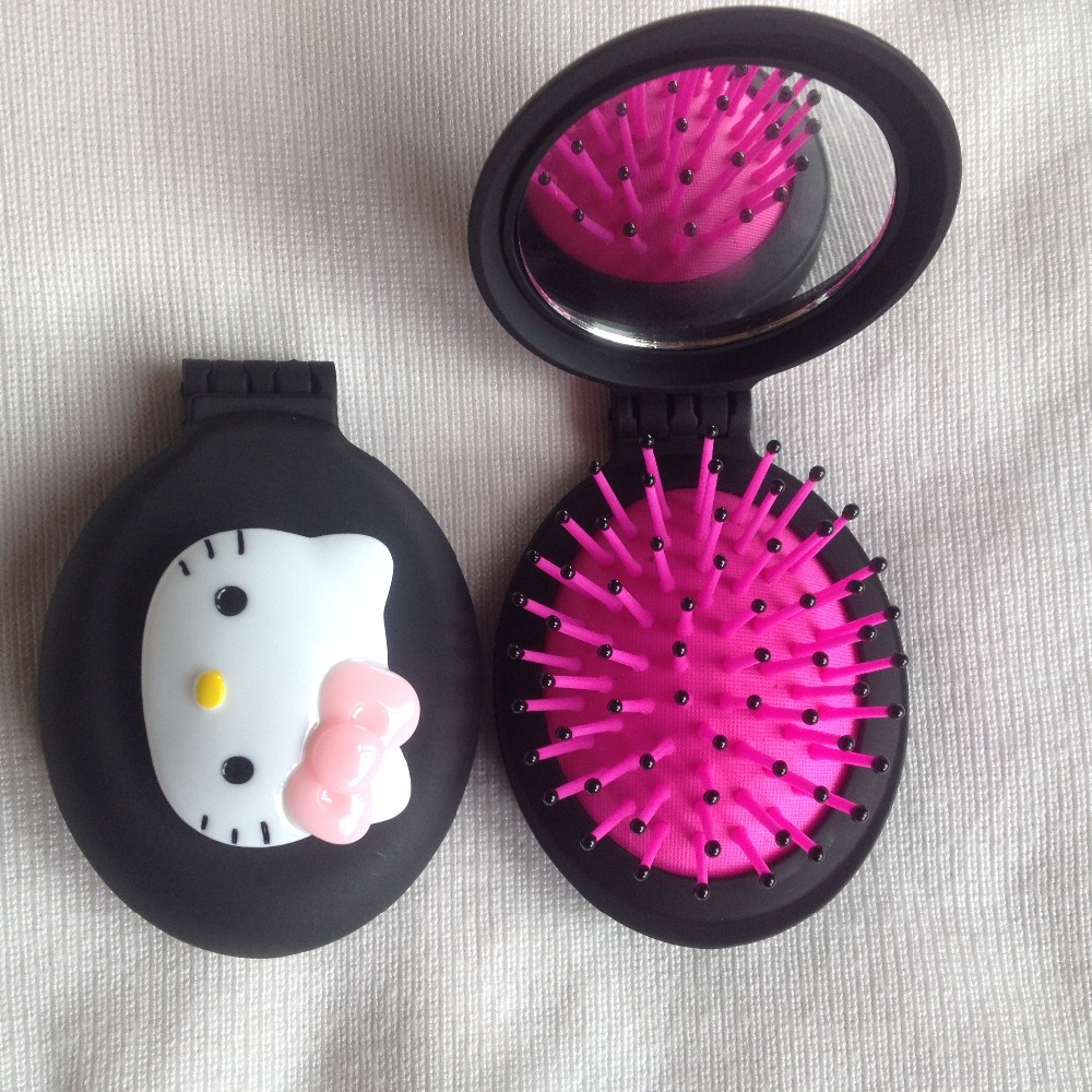 lovely New hello kitty combs Girls women Portable Mini Folding Comb Airbag Massage Oval Travel Hair brush With Mirror