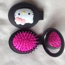 Precioso nuevo hello kitty peines Niñas mujeres portátil Mini plegable peine Airbag Masaje Oval Viaje cepillo de pelo con espejo