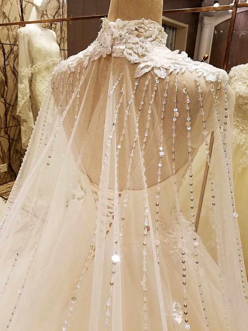 LS78479 טורקיה שמלות מחוך חזור חרוזים קריסטל כדור שמלת יוקרה ערבי חתונה שמלה עם ארוך רכבת שנהב אמיתי תמונות