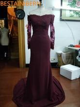 Real Photos Burgundy Satin Mermaid Long Bridesmaids Dresses 2017 Appliques Party gown Long Sleeve Bridesmaid attire