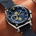 Megir Мужские кварцевые часы с кожаным ремешком, армейские спортивные Водонепроницаемые наручные часы с хронографом для мужчин, светящиеся ч...