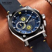 цена Megir Men's Leather Strap Quartz Watches Army Sports Chronograph Waterproof Wristwatch for Man Luminous Relogios Clock 2098 Blue онлайн в 2017 году
