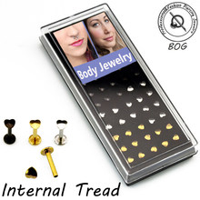 BOG-40 Pieces 316L Internal Thread Heart Top Labret lip monroe bars Stud rings 16g Gold&Black&Silver(China)