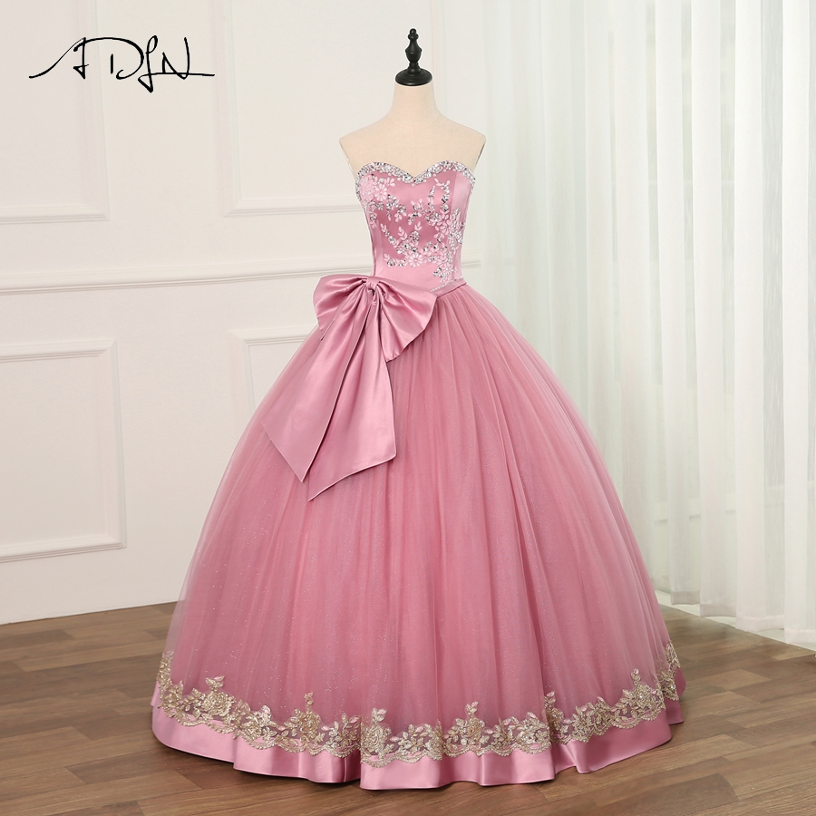 ADLN 2019 Ball Gown Cheap Quinceanera Dresses Tulle With Beads Sequined Sweet 16 Dress For 15 Years Debutante Gown