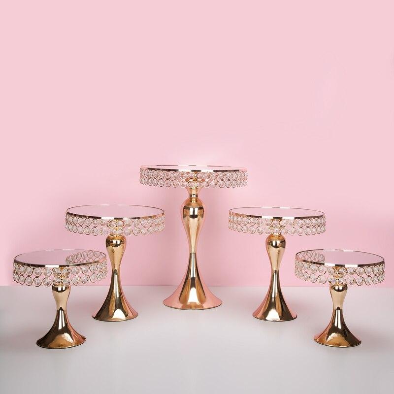 Nuovo arriva il Cristallo Dell'oro del basamento della torta set Galvanotecnica oro fronte di specchio tabella della festa nuziale della caramella tavolo da bar che decora gli attrezzi