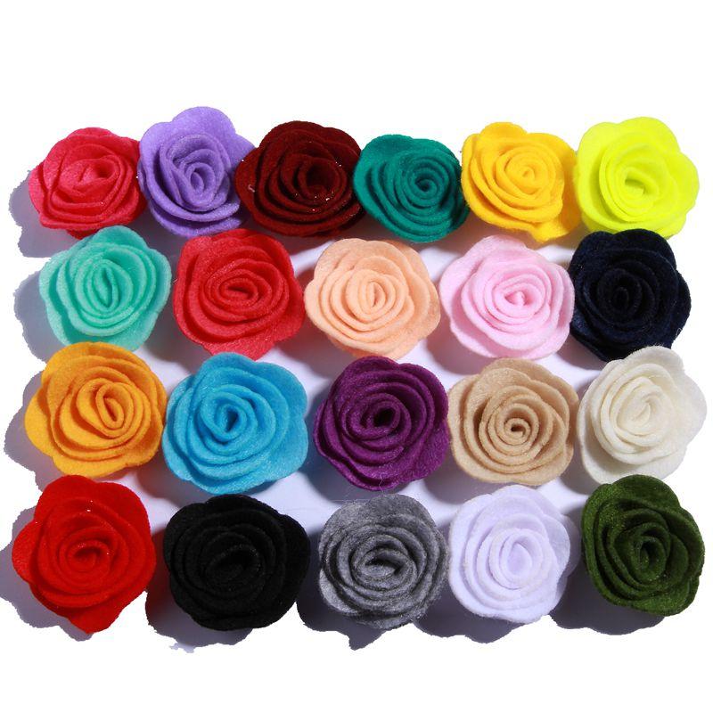 10PCS 4CM Mini Chic Felt Rose Flowers For Hair Headband Accessories Tiny Fabric Rose Flower Alternative U Pick Color