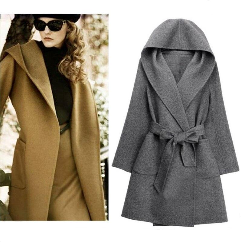 Jacket Coat Women Wool Black Overcoat Belt Hooded Autumn