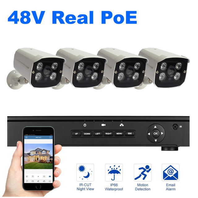 4PCS POE Camera NVR kit 1080P Resolution Surveillance Security System 2MP Outdoor Camera Night Vision 48V Power Over Ethernet